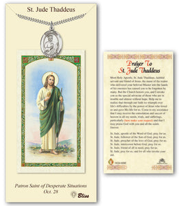 St Jude Thaddeus Pendant Holy Prayer Card Gift Set by Bliss Manufacturing