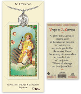 Saint Lawrence Pendant Holy Prayer Card Gift Set by Bliss Manufacturing