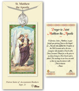 St Matthew the Apostle Pendant Holy Prayer Card Gift Set by Bliss Manufacturing