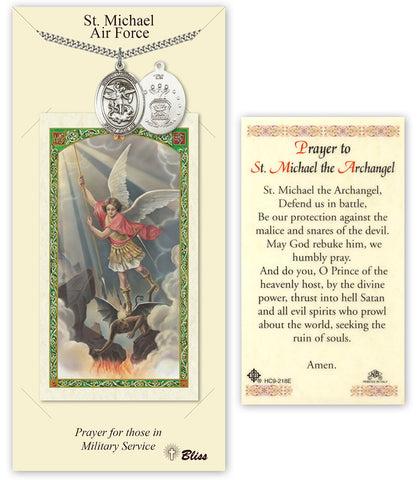 Bliss St Michael Air Force Pendant Necklace with Holy Prayer Card Gift Set