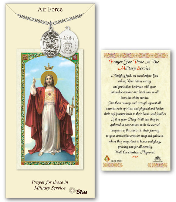 Bliss St Michael Air Force Pendant and Jesus Military Holy Prayer Card Gift Set