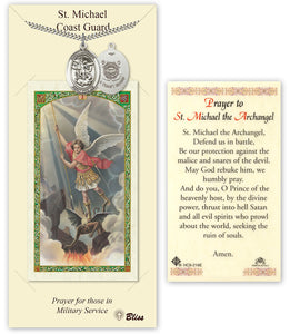 Bliss St Michael Coast Guard Pendant Necklace with Holy Prayer Card Gift Set