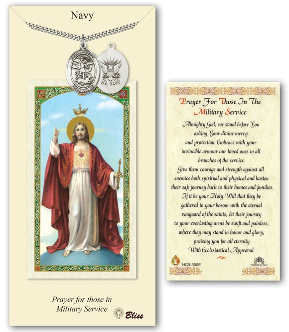Bliss St Michael Navy Pendant and Jesus Military Holy Prayer Card Gift Set