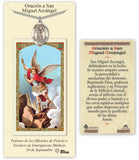 Bliss Spanish St Michael/San Miguel Arcangel Pendant Necklace with Holy Prayer Card Gift Set