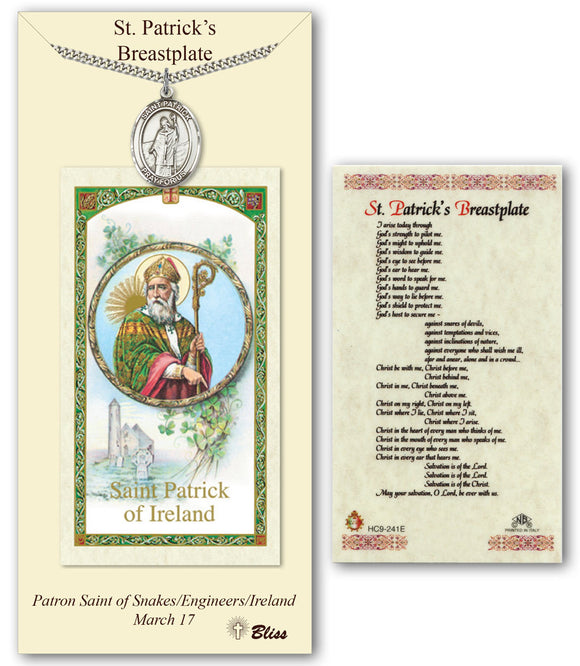 St Patrick's Breastplate Pendant Holy Prayer Card Gift Set by Bliss Manufacturing