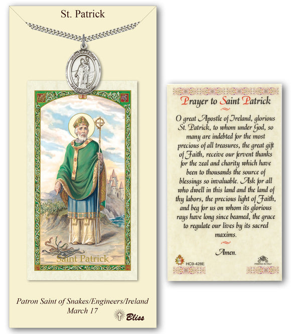St Patrick Pendant Holy Prayer Card Gift Set by Bliss Manufacturing