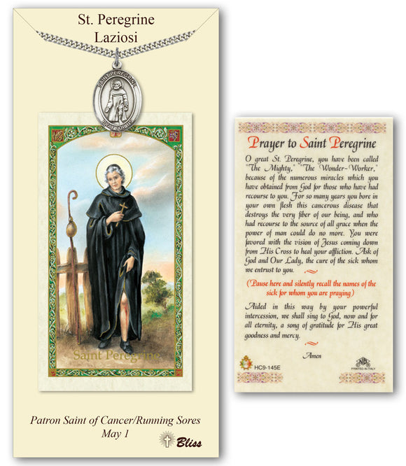 St Peregrine Laziosi Pendant Holy Prayer Card Gift Set by Bliss Manufacturing