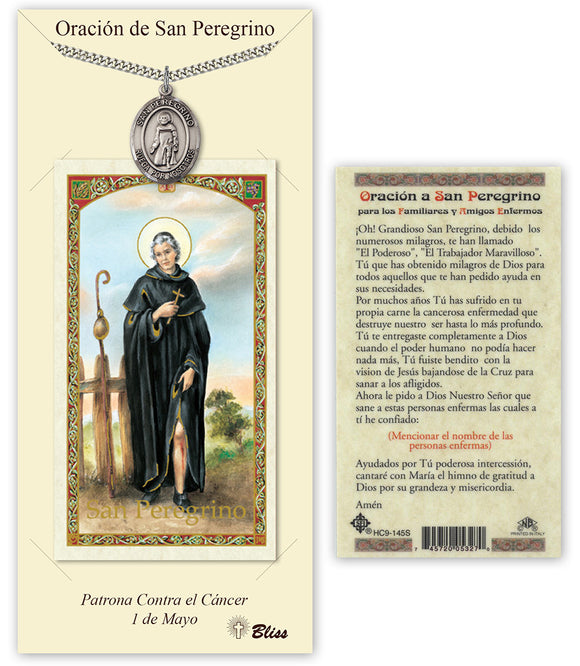 Spanish St Peregrine/San Peregrino Pendant Holy Prayer Card Gift Set by Bliss Manufacturing