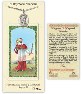 St Raymond Nonatus Pendant and Holy Prayer Card Gift Set by Bliss Manufacturing