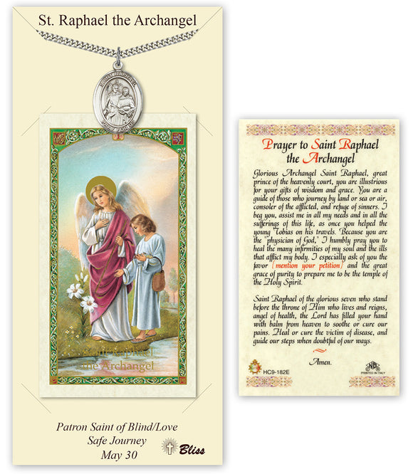 St Raphael the Archangel Pendant and Holy Prayer Card Gift Set by Bliss Manufacturing
