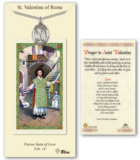 St Valentine of Rome Pendant w/Prayer Card Gift Set by Bliss Manufacturing