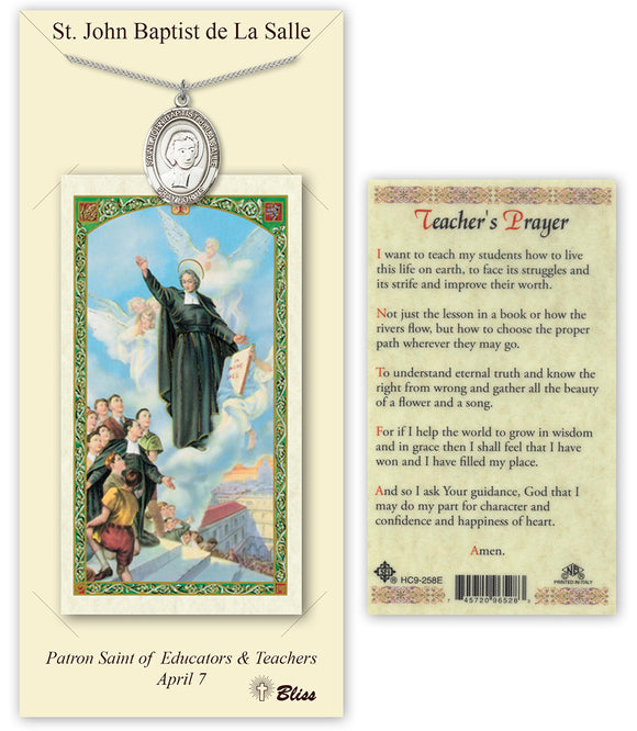 Bliss St John Baptist de la Salle Pendant Necklace with Holy Prayer Card Gift Set