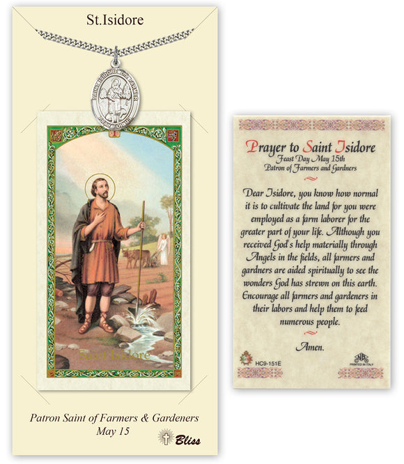 St Isidore the Farmer Pendant w/Prayer Card Gift Set by Bliss Manufacturing