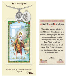 St Christopher Baseball Player Pendant and Holy Prayer Card Gift Set by Bliss Manufacturing