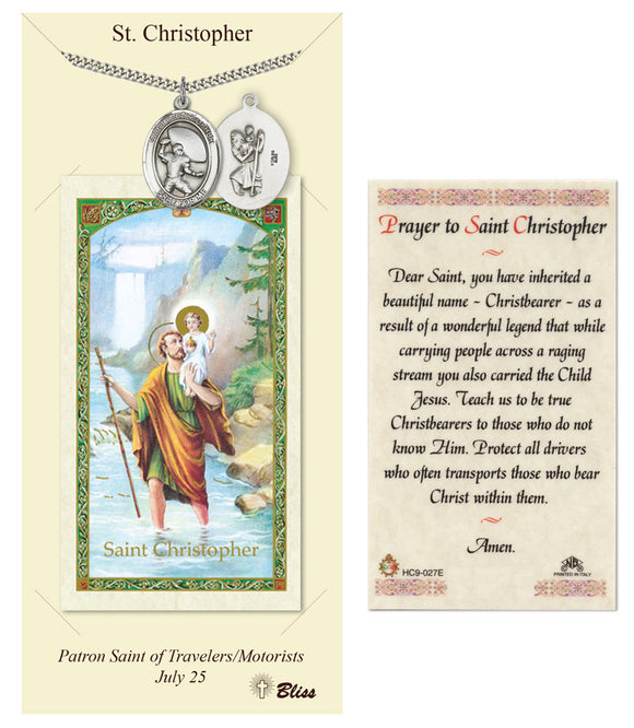 St Christopher Football Player Pendant and Holy Prayer Card Gift Set by Bliss Manufacturing