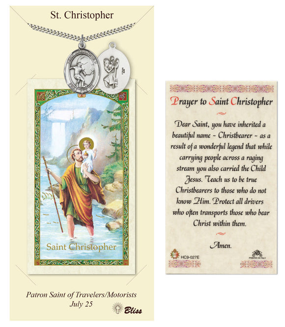 St Christopher Soccer Player Pendant and Holy Prayer Card Gift Set by Bliss Manufacturing