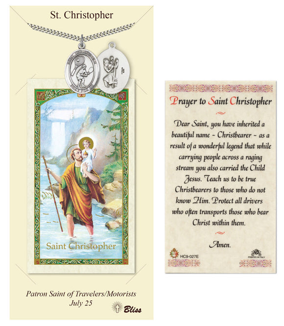 St Christopher Tennis Player Pendant and Holy Prayer Card Gift Set by Bliss Manufacturing