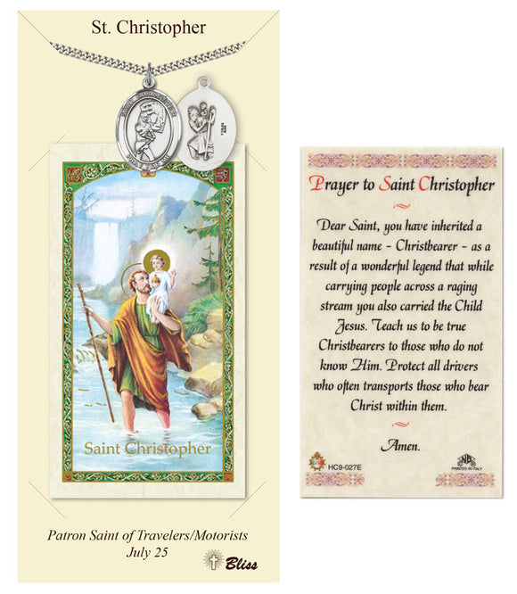 St Christopher Girl's Softball Player Pendant and Holy Prayer Card Gift Set by Bliss Manufacturing