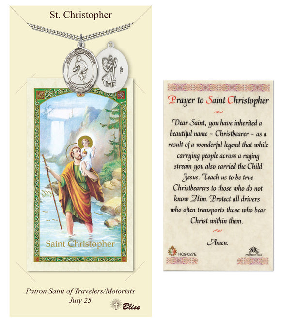 St Christopher Boy's Wrestling Pendant and Holy Prayer Card Gift Set by Bliss Manufacturing