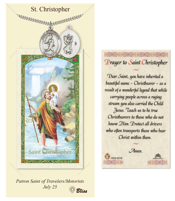 St Christopher Boy's Track & Field Pendant and Holy Prayer Card Gift Set by Bliss Manufacturing