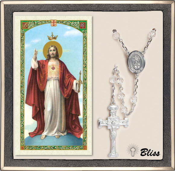 Bliss St Michael Coast Guard Military Crystal Silver Rosary & Prayer Card