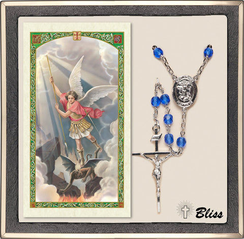 Bliss National Guard St Michael Military Blue Crystal Silver Rosary & Prayer Card