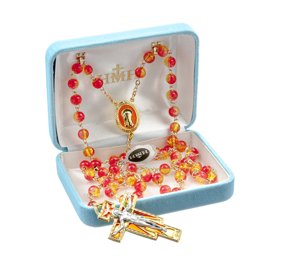HMH Religious Madonna Gold and Red Crackle Bead Gold Plated New England Pewter Prayer Rosary