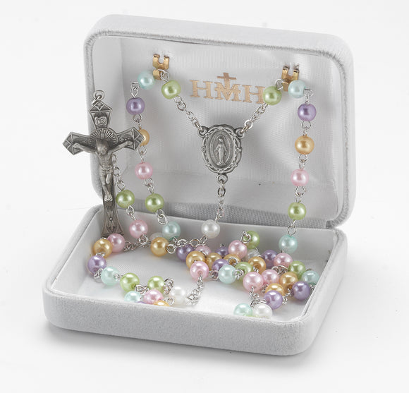 HMH Religious Multi-Color Imitation Pearl Bead New England Pewter Prayer Rosary