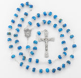 HMH Religious Madonna Blue Capped Marble New England Pewter Prayer Rosary