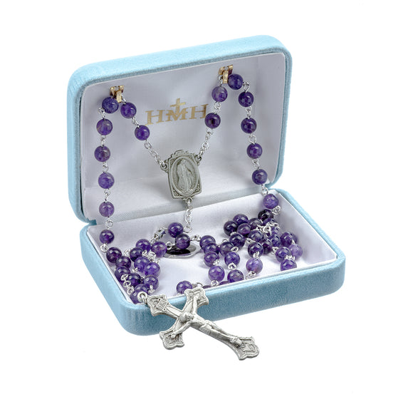 HMH Religious Amethyst New England Pewter Catholic Prayer Rosary