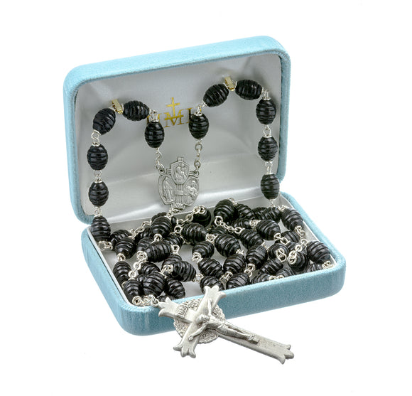 HMH Religious Black Beehive Box Wood St Christopher, St Joseph and Miraculous Medal Pewter Rosary