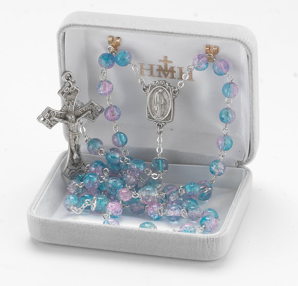 HMH Religious Aqua and Pink Crackle Glass Bead New England Pewter Catholic Prayer Rosary