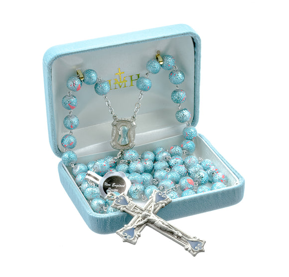 HMH Religious Aqua and Pink Glass Lava Bead New England Pewter Catholic Prayer Rosary