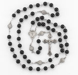 HMH Religious Communion Black Onyx Bead New England Pewter Prayer Rosary