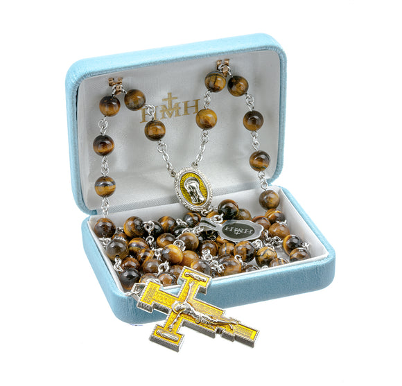 HMH Religious Madonna Enameled Tiger Eye Bead New England Pewter Prayer Rosary