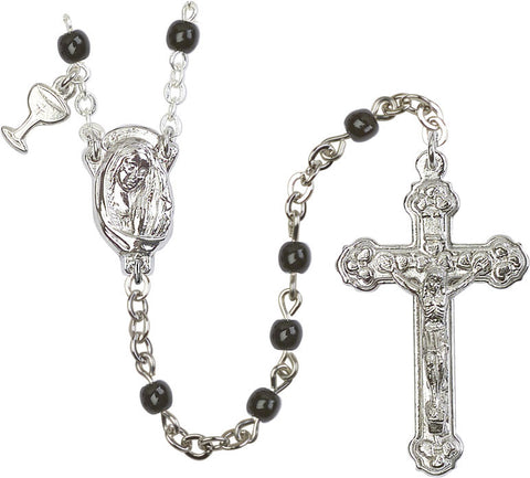 Bliss Boy's Black Beads First Holy Communion Rosary w/Madonna Center & Chalice Dangle