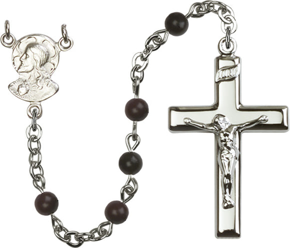 Bliss Manufacturing Black Sacred Heart of Jesus Silver-plated Catholic Prayer Rosary