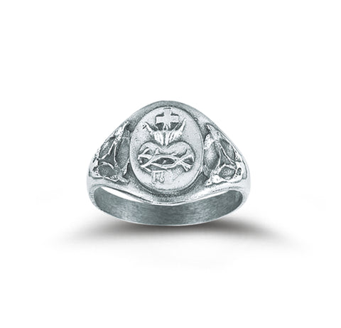 HMH Religious Risen Christ Sacred Heart of Jesus Sterling Silver Ring