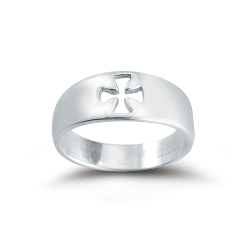 HMH Religious Faith Pierced Cross Sterling Silver Ring