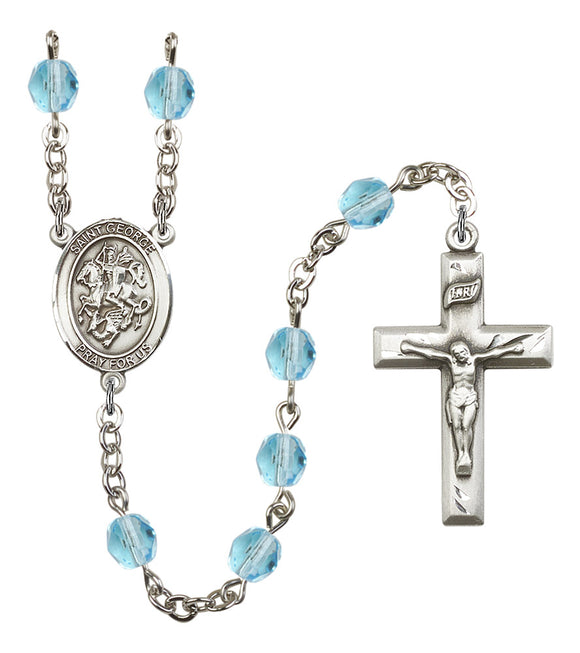 Bliss Manufacturing Saint George Silver-Plated Birthstone Prayer Rosary