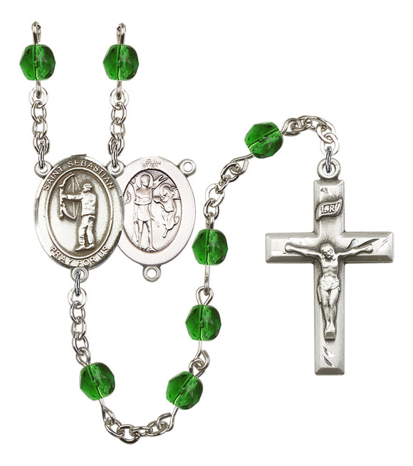 Bliss St Sebastian Archery Birthstone Fire Polished Crystal Saint Rosary