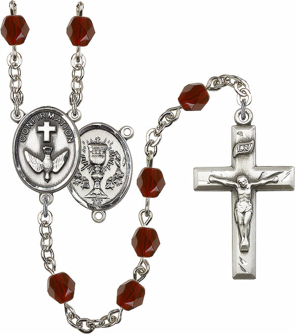 Bliss 2-Sided Chalice and Confirmation Center Silver-Plated Crystal Birthstone Rosary