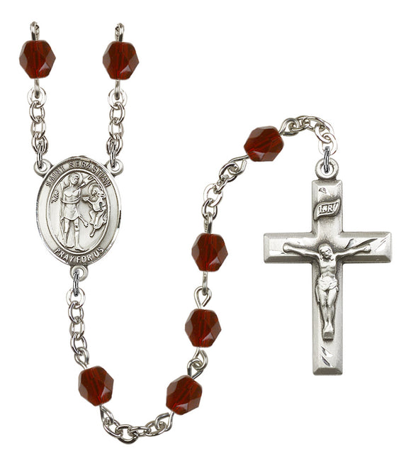 Bliss Manufacturing Saint Sebastian Silver-Plated Birthstone Prayer Rosary