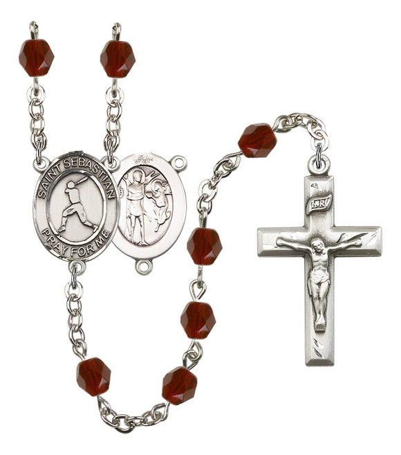 Bliss St Sebastian Baseball Birthstone Sports Saint Rosary
