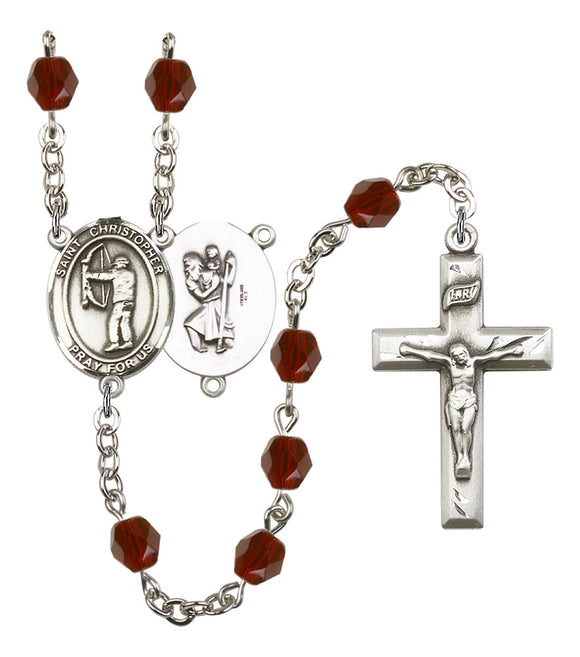 Bliss St Christopher Archery Birthstone Fire Polished Crystal Saint Rosary