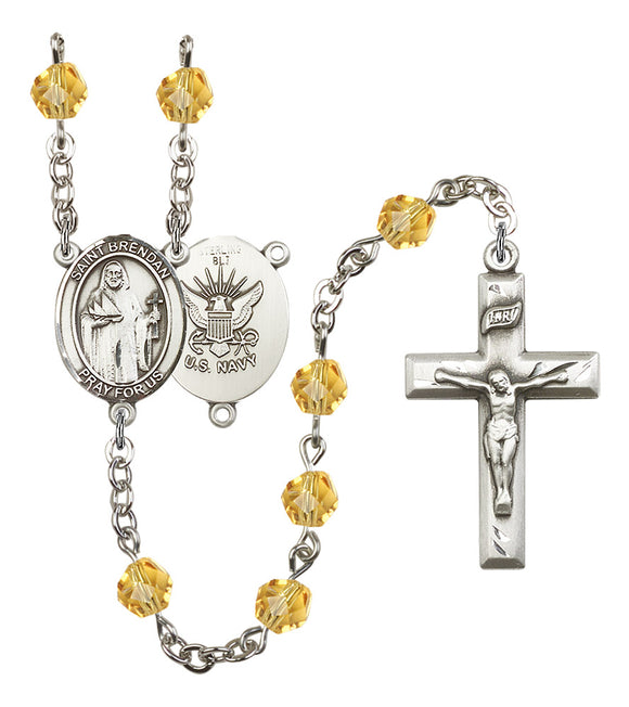 Bliss Manufacturing Navy Saint Brendan the Navigator Birthstone Prayer Rosary