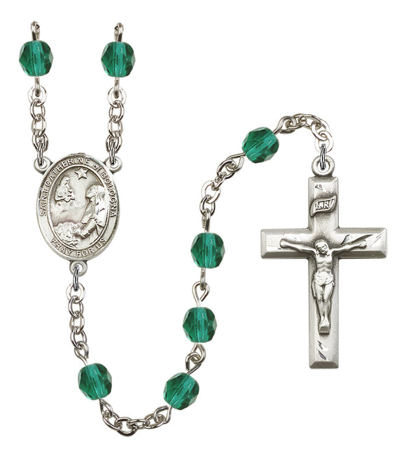 Bliss Saint Catherine of Bologna Silver-Plated Crystal Birthstone Saint Rosary