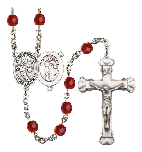 Bliss Heart St Sebastian Basketball Athlete Birthstone Sports Saint Rosary