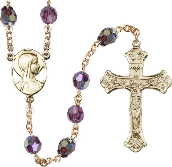Madonna Swarovski 8mm Aurora Borealis Crystal 14kt Gold Rosary by Bliss Manufacturing