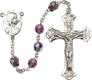 Madonna Swarovski 8mm Aurora Borealis Crystal Sterling Silver Rosary by Bliss Manufacturing
